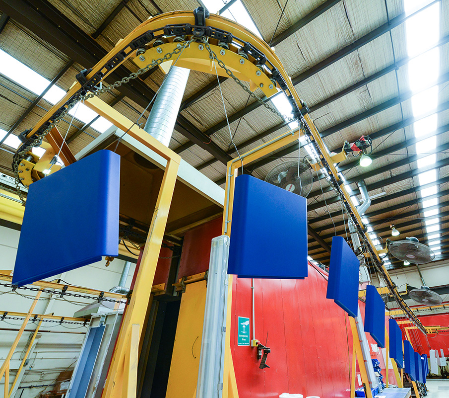Conveyorised Powder Coating Plant capability at the FORM2000 factory in Melbourne